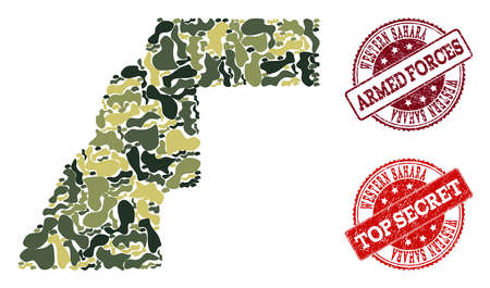 Military camouflage collage of map of Western Sahara and red scratched seals. Vector top secret and armed forces seals with unclean rubber texture. Army flat design for military illustrations. Ilustrace