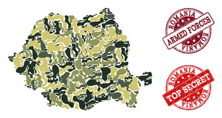 Military camouflage composition of map of Romania and red rubber seals. Vector top secret and armed forces seals with scratched rubber texture. Army flat design for political illustrations.