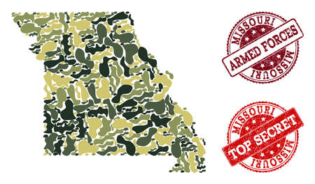 Military camouflage collage of map of Missouri State and red scratched seals. Vector top secret and armed forces watermarks with scratched rubber texture. Army flat design for military illustrations.