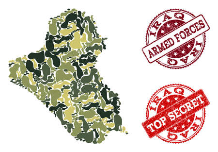 Military camouflage composition of map of Iraq and red grunge seals. Vector top secret and armed forces seals with grunge rubber texture. Army flat design for military purposes.