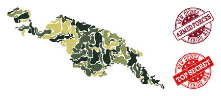 Military camouflage composition of map of New Guinea Island and red corroded seals. Vector top secret and armed forces seals with corroded rubber texture. Army flat design for patriotic illustrations.