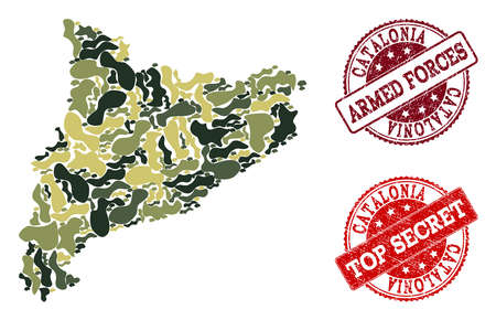 Military camouflage collage of map of Catalonia and red rubber seals. Vector top secret and armed forces imprints with scratched rubber texture. Army flat design for military posters.
