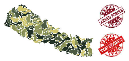 Military camouflage combination of map of Nepal and red corroded seals. Vector top secret and armed forces imprints with corroded rubber texture. Army flat design for military purposes.