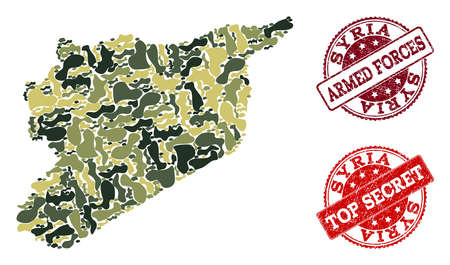 Military camouflage composition of map of Syria and red rubber stamps. Vector top secret and armed forces watermarks with scratched rubber texture. Army flat design for political illustrations.