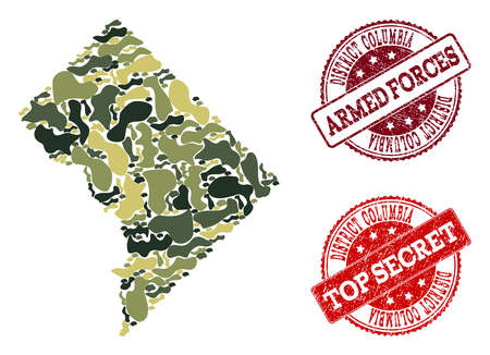 Military camouflage combination of map of District Columbia and red unclean seals. Vector top secret and armed forces seals with scratched rubber texture. Army flat design for political illustrations.