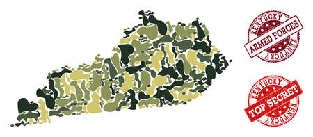 Military camouflage collage of map of Kentucky State and red rubber seals. Vector top secret and armed forces watermarks with grunge rubber texture. Army flat design for military illustrations.