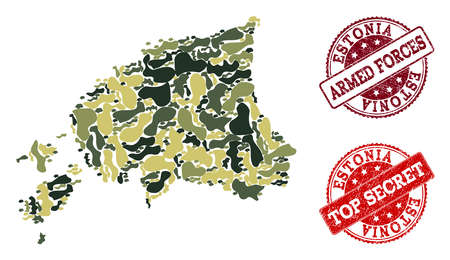 Military camouflage combination of map of Estonia and red corroded seal stamps. Vector top secret and armed forces imprints with corroded rubber texture. Army flat design for patriotic purposes.