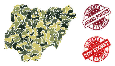 Military camouflage composition of map of Nigeria and red rubber stamps. Vector top secret and armed forces watermarks with grunge rubber texture. Army flat design for military templates.