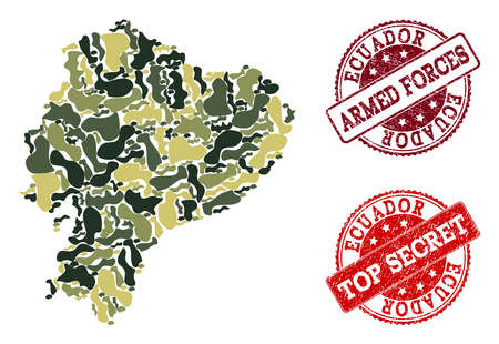 Military camouflage composition of map of Ecuador and red dirty seals. Vector top secret and armed forces imprints with scratched rubber texture. Army flat design for military templates. Ilustração