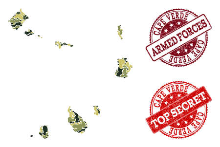 Military camouflage combination of map of Cape Verde Islands and red scratched seal stamps. Vector top secret and armed forces seals with scratched rubber texture.