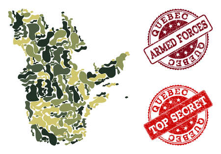 Military camouflage collage of map of Quebec Province and red rubber stamps. Vector top secret and armed forces seals with retro rubber texture. Army flat design for military posters.