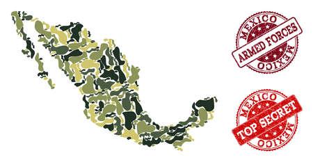 Composición de camuflaje militar del mapa de México y sellos de goma rojos. Sellos de las fuerzas armadas y secretos superiores del vector con textura de goma del grunge. Diseño plano del ejército para fines militares.