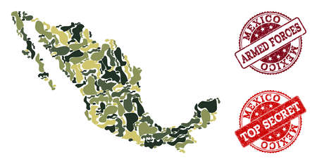 Military camouflage composition of map of Mexico and red rubber seals. Vector top secret and armed forces seals with grunge rubber texture. Army flat design for military purposes.