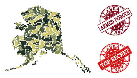 Military camouflage collage of map of Alaska State and red scratched seals. Vector top secret and armed forces seals with scratched rubber texture. Army flat design for political illustrations.