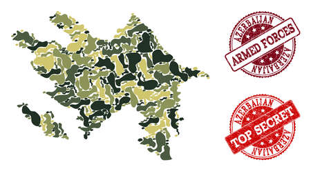 Military camouflage composition of map of Azerbaijan and red scratched stamps. Vector top secret and armed forces imprints with distress rubber texture. Army flat design for military purposes.