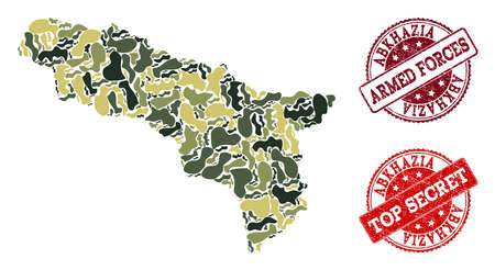 Military camouflage composition of map of Abkhazia and red textured seals. Vector top secret and armed forces seals with unclean rubber texture. Army flat design for patriotic purposes.