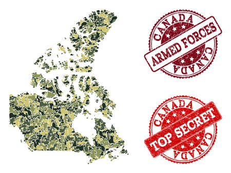 Military camouflage combination of map of Canada and red rubber seals. Vector top secret and armed forces seals with scratched rubber texture. Army flat design for military templates.
