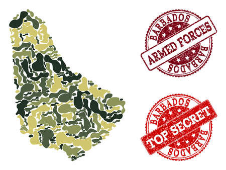 Military camouflage combination of map of Barbados and red rubber stamps. Vector top secret and armed forces imprints with corroded rubber texture. Army flat design for political illustrations.