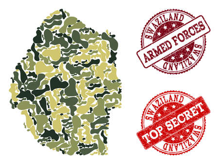 Military camouflage combination of map of Swaziland and red textured seals. Vector top secret and armed forces seals with scratched rubber texture. Army flat design for military posters.