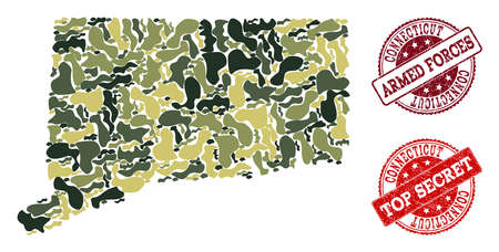 Military camouflage combination of map of Connecticut State and red scratched seal stamps. Vector top secret and armed forces watermarks with scratched rubber texture. Illustration