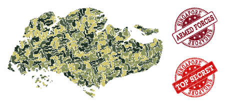Military camouflage combination of map of Singapore and red scratched seals. Vector top secret and armed forces imprints with scratched rubber texture. Army flat design for military illustrations.