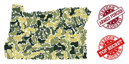 Military camouflage combination of map of Oregon State and red grunge seal stamps. Vector top secret and armed forces watermarks with scratched rubber texture. Army flat design for military posters.