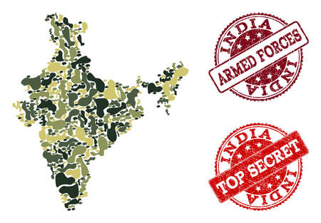 Military camouflage collage of map of India and red rubber stamps. Vector top secret and armed forces watermarks with distress rubber texture. Army flat design for political posters.