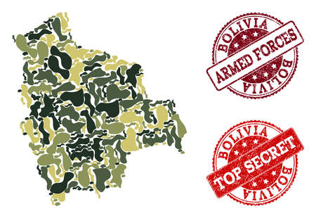 Military camouflage composition of map of Bolivia and red rubber seal stamps. Vector top secret and armed forces seals with scratched rubber texture. Army flat design for patriotic purposes. Ilustrace