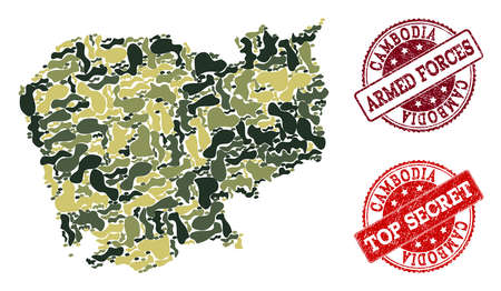 Military camouflage composition of map of Cambodia and red unclean seal stamps. Vector top secret and armed forces watermarks with unclean rubber texture. Army flat design for military purposes.