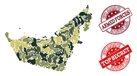 Military camouflage collage of map of United Arab Emirates and red scratched seals. Vector top secret and armed forces seals with grunge rubber texture. Army flat design for military posters.