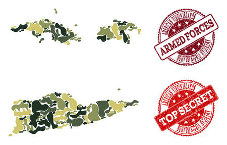 Military camouflage composition of map of American Virgin Islands and red unclean stamps. Vector top secret and armed forces watermarks with unclean rubber texture.