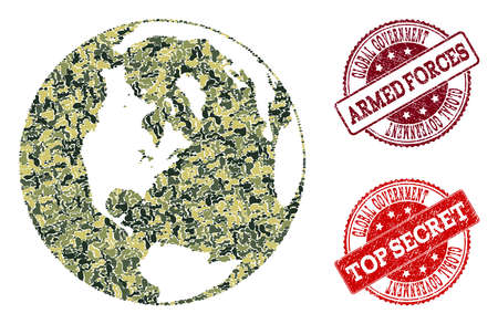 Military camouflage combination of map of global world and red grunge seals. Vector top secret and armed forces imprints with grunge rubber texture. Army flat design for military posters. Stock Illustratie