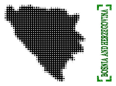 Halftone map of Bosnia and Herzegovina and rubber caption. Vector green title with corners and retro rubber texture. Halftone map of Bosnia and Herzegovina constructed with black pattern of circles.