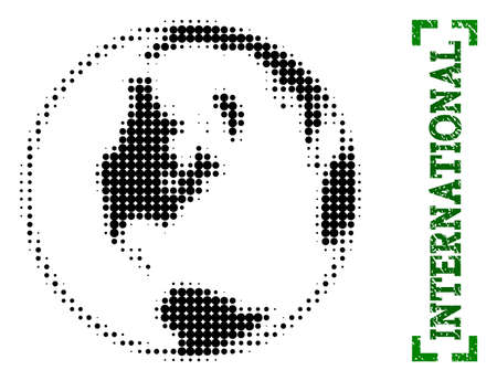 Halftone global map of world and rubber caption. Vector green title with corners and scratched rubber texture. Halftone global map of world constructed with black pattern of circles. Stock Illustratie