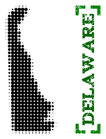 Halftone map of Delaware State and corroded caption. Vector green title with corners and corroded rubber texture. Halftone map of Delaware State constructed with black pattern of circles.