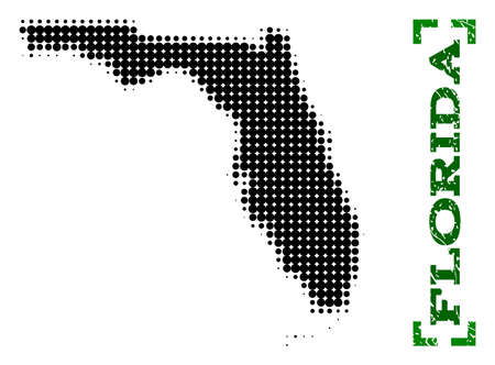 Halftone map of Florida State and unclean caption. Vector green title with corners and unclean rubber texture. Halftone map of Florida State designed with black pattern of circles.