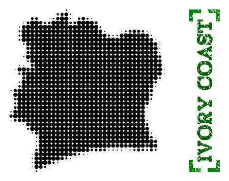 Halftone map of Ivory Coast and rubber caption. Vector green title with corners and scratched rubber texture. Halftone map of Ivory Coast designed with black pattern of circles.