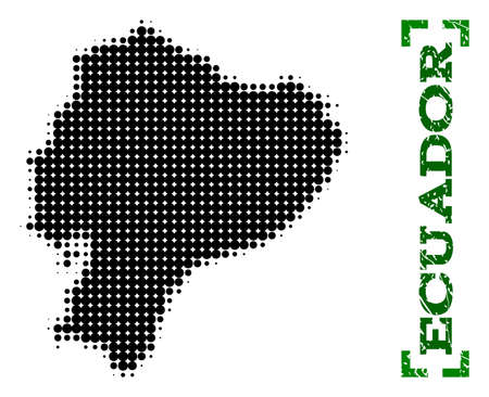 Halftone map of Ecuador and rubber caption. Vector green title with corners and unclean rubber texture. Halftone map of Ecuador designed with black pattern of circles.