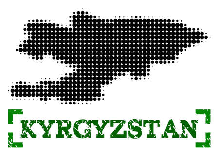 Halftone map of Kyrgyzstan and corroded caption. Vector green title with corners and corroded rubber texture. Halftone map of Kyrgyzstan designed with black pattern of circles.