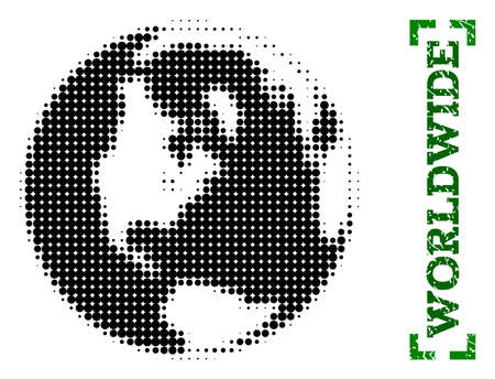 Halftone map of global world and rubber caption. Vector green title with corners and distress rubber texture. Halftone map of global world designed with black pattern of circles.
