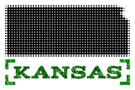 Halftone map of Kansas State and corroded caption. Vector green title with corners and corroded rubber texture. Halftone map of Kansas State designed with black pattern of circles. Ilustrace