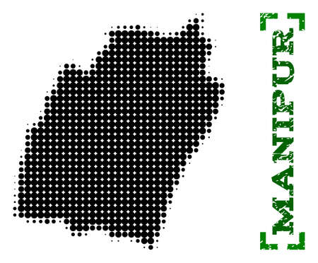 Halftone map of Manipur State and corroded caption. Vector green title with corners and corroded rubber texture. Halftone map of Manipur State designed with black pattern of circles.  イラスト・ベクター素材