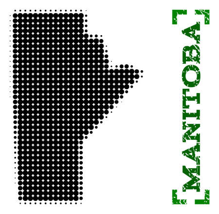 Halftone map of Manitoba Province and unclean caption. Vector green title with corners and unclean rubber texture. Halftone map of Manitoba Province constructed with black pattern of circles. Illustration