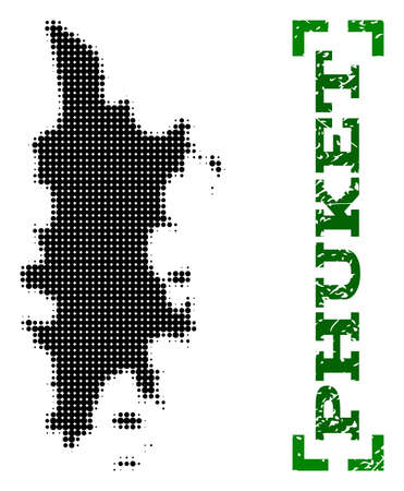 Halftone map of Phuket and rubber caption. Vector green title with corners and retro rubber texture. Halftone map of Phuket designed with black pattern of circles. Flat design for political posters. 向量圖像