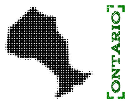 Halftone map of Ontario Province and rubber caption. Vector green title with corners and unclean rubber texture. Halftone map of Ontario Province constructed with black pattern of circles.