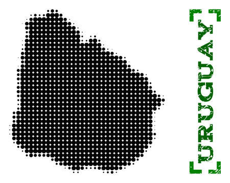 Halftone map of Uruguay and rubber caption. Vector green title with corners and scratched rubber texture. Halftone map of Uruguay constructed with black pattern of circles.