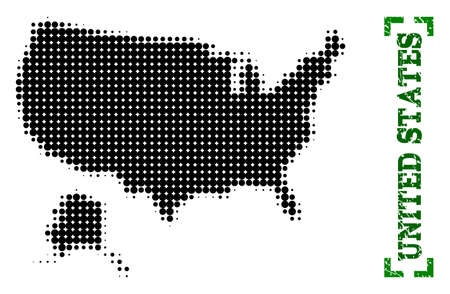 Halftone map of USA and Alaska and rubber caption. Vector green title with corners and scratched rubber texture. Halftone map of USA and Alaska designed with black pattern of circles.
