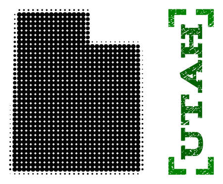 Halftone map of Utah State and rubber caption. Vector green title with corners and unclean rubber texture. Halftone map of Utah State designed with black pattern of circles.