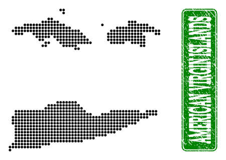 Dotted map of American Virgin Islands and grunge caption. Vector green title inside rounded rectangle and grunge rubber texture.