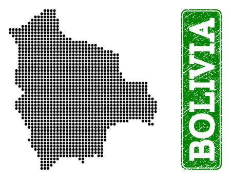 Dotted map of Bolivia and rubber caption. Vector green title inside rounded rectangle and retro rubber texture. Pixelated map of Bolivia constructed with black pattern of round dots.